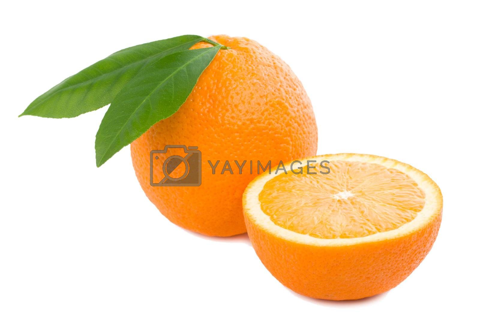 orange with leaves full and a half, isolated on white