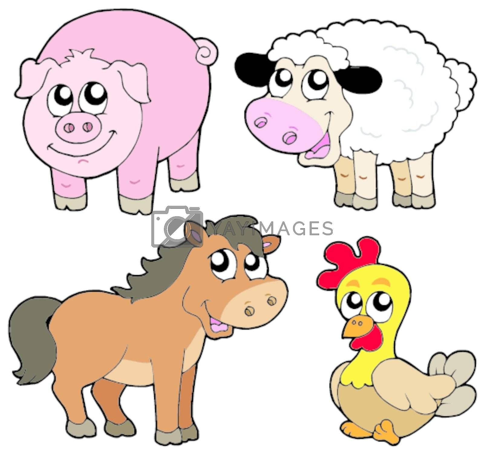 Cute country animals collection - vector illustration.
