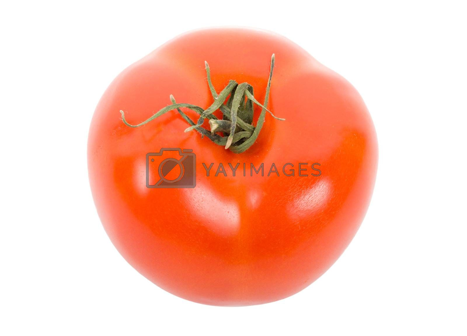 tomato view from above, isolated on white