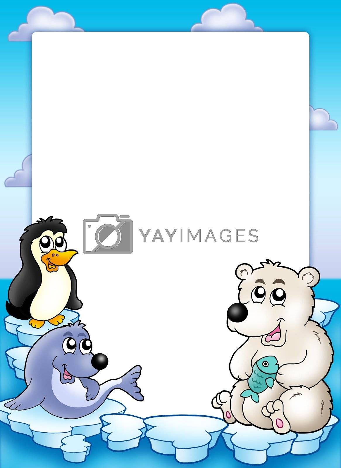 Frame with winter animals - color illustration.