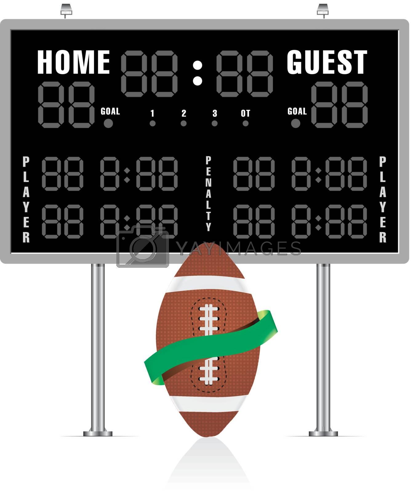 American football ball with ribbon and scoreboard