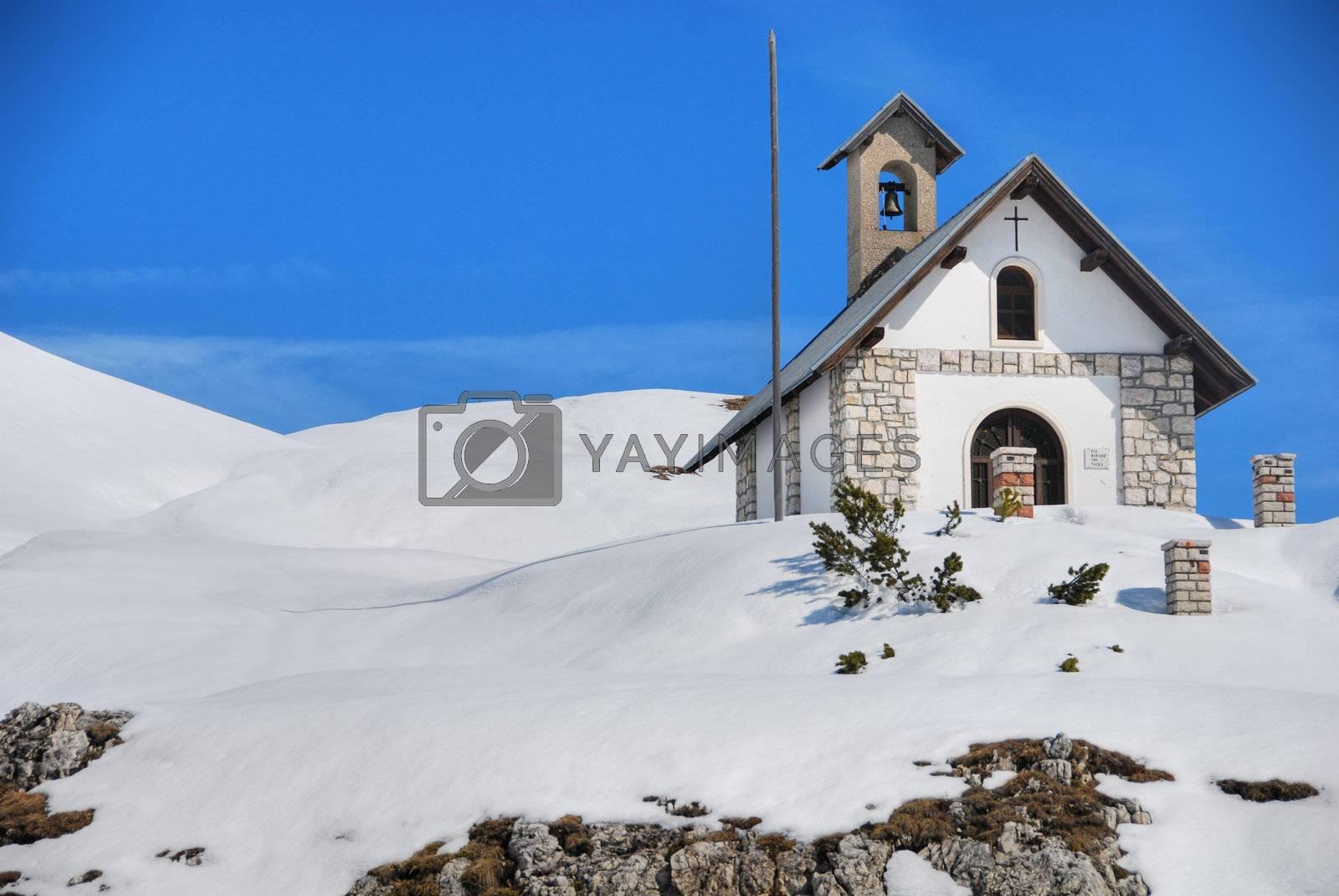 Small Dolomites Church in Misurina, Italy