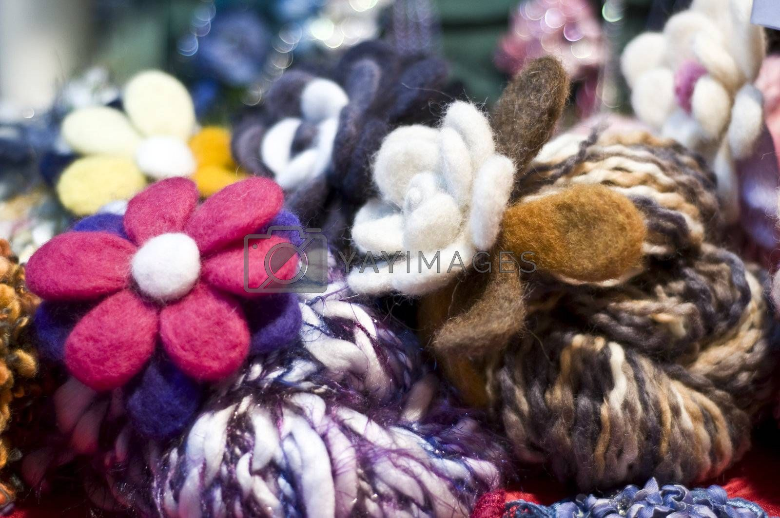 Flowers worked in wool and balls