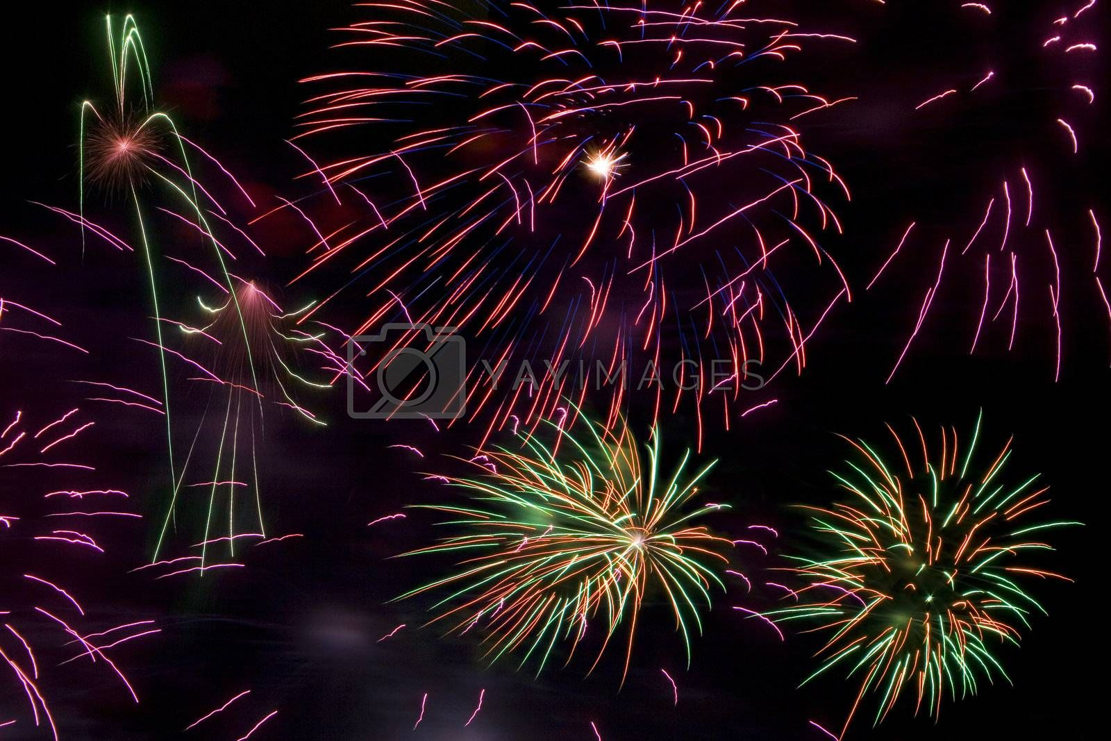 Colourful firework in the night sky