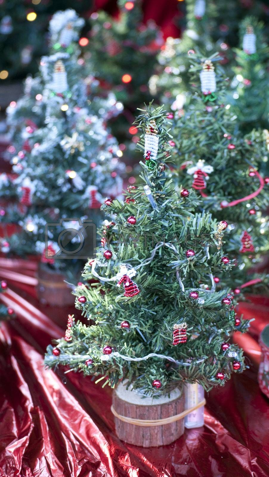 Small Christmas tree on a stand.