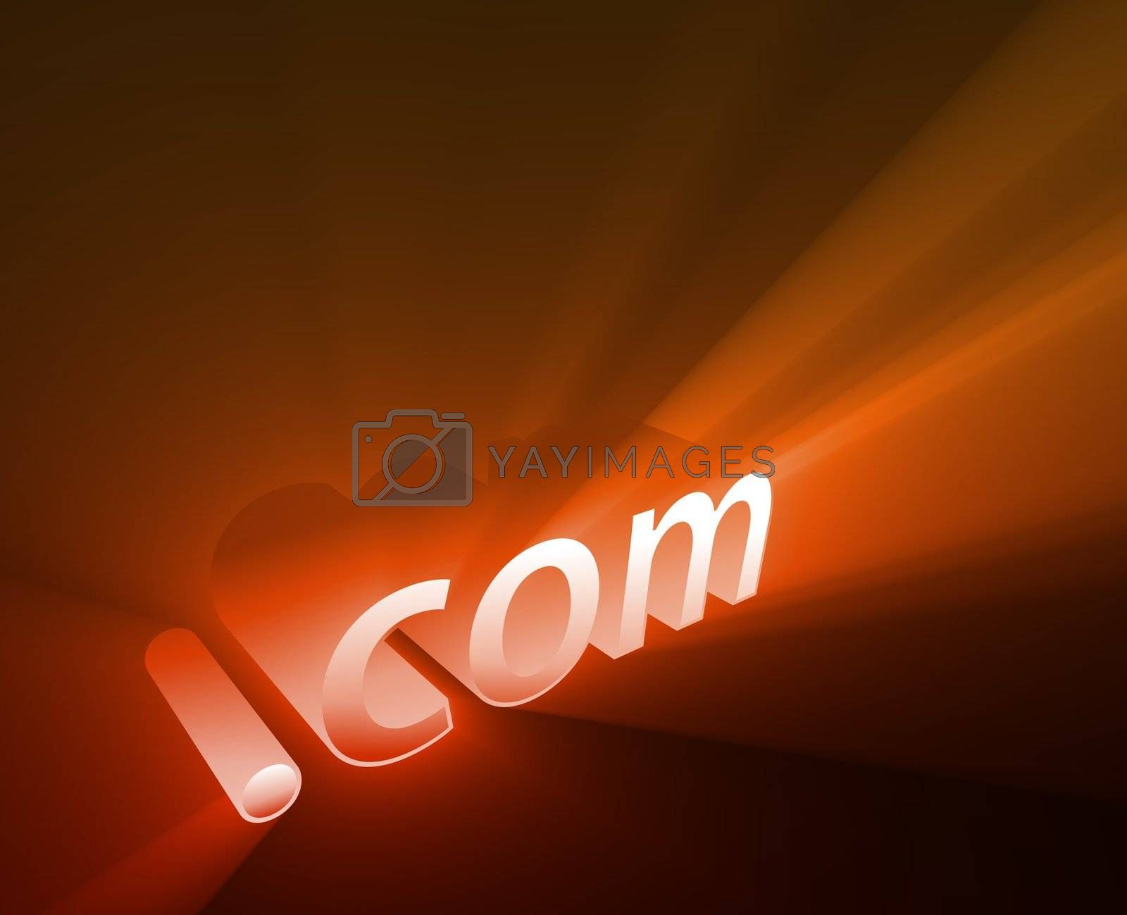 Dot com internet word graphic, with glowing light effects