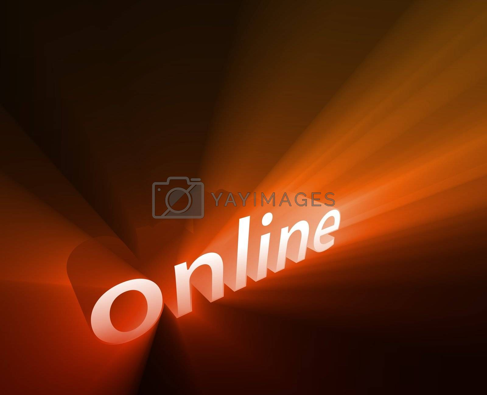Online internet word graphic, with glowing light effects