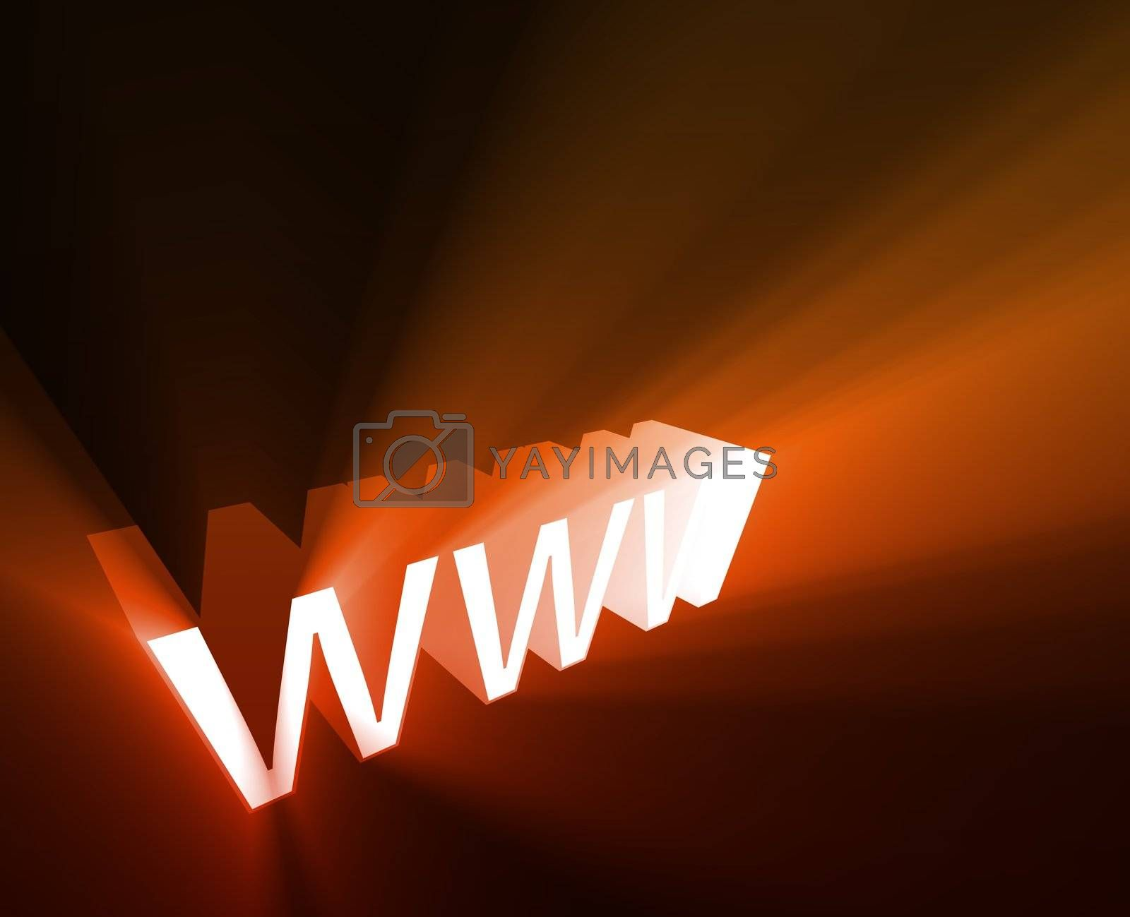 WWW internet word graphic, with glowing light effects