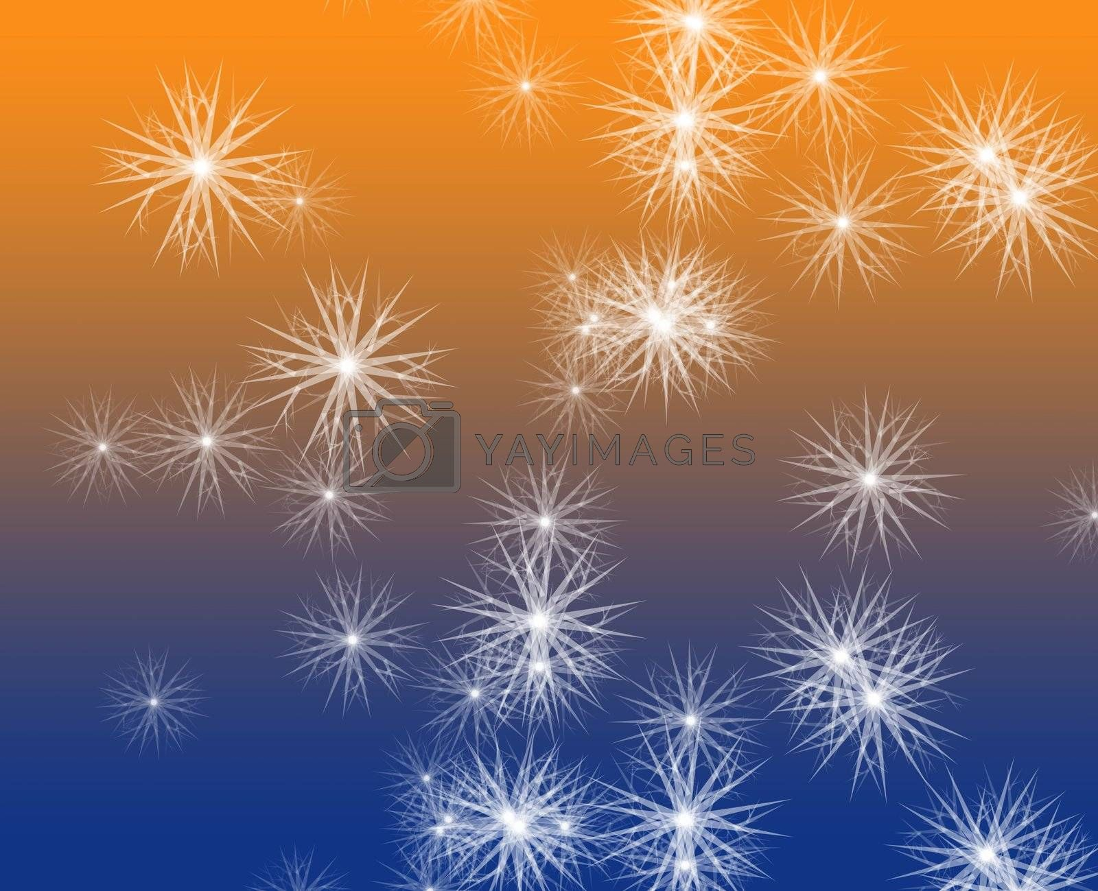 Falling snow, detailed crystalline snowflakes abstract background