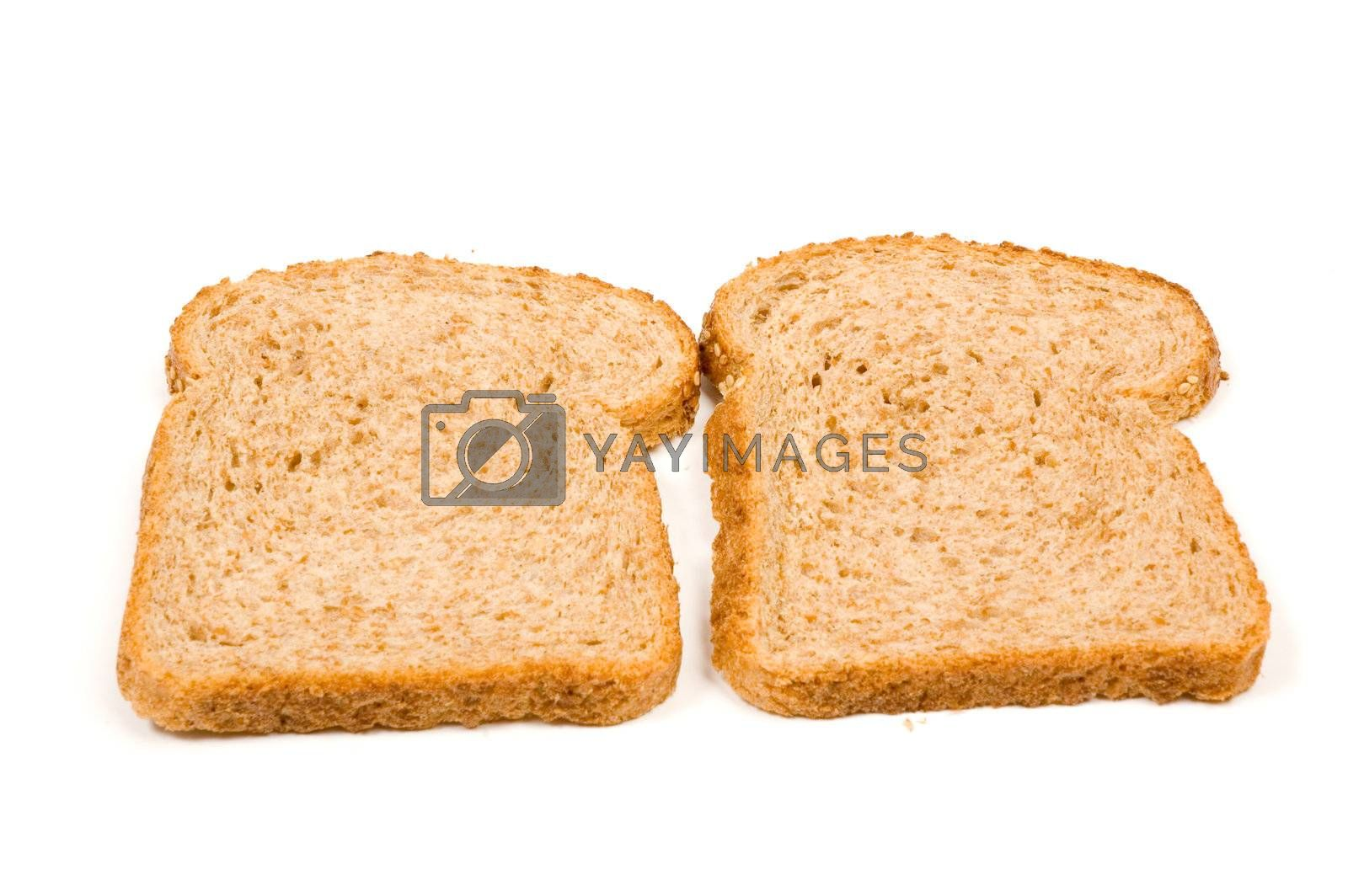 two perfect slices of bread isolated on a white background