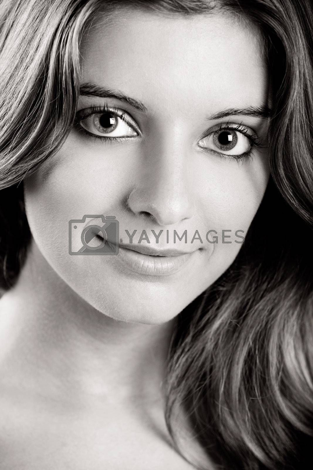 Close-up portrait of a Fresh and Beautiful young woman, toned in PS