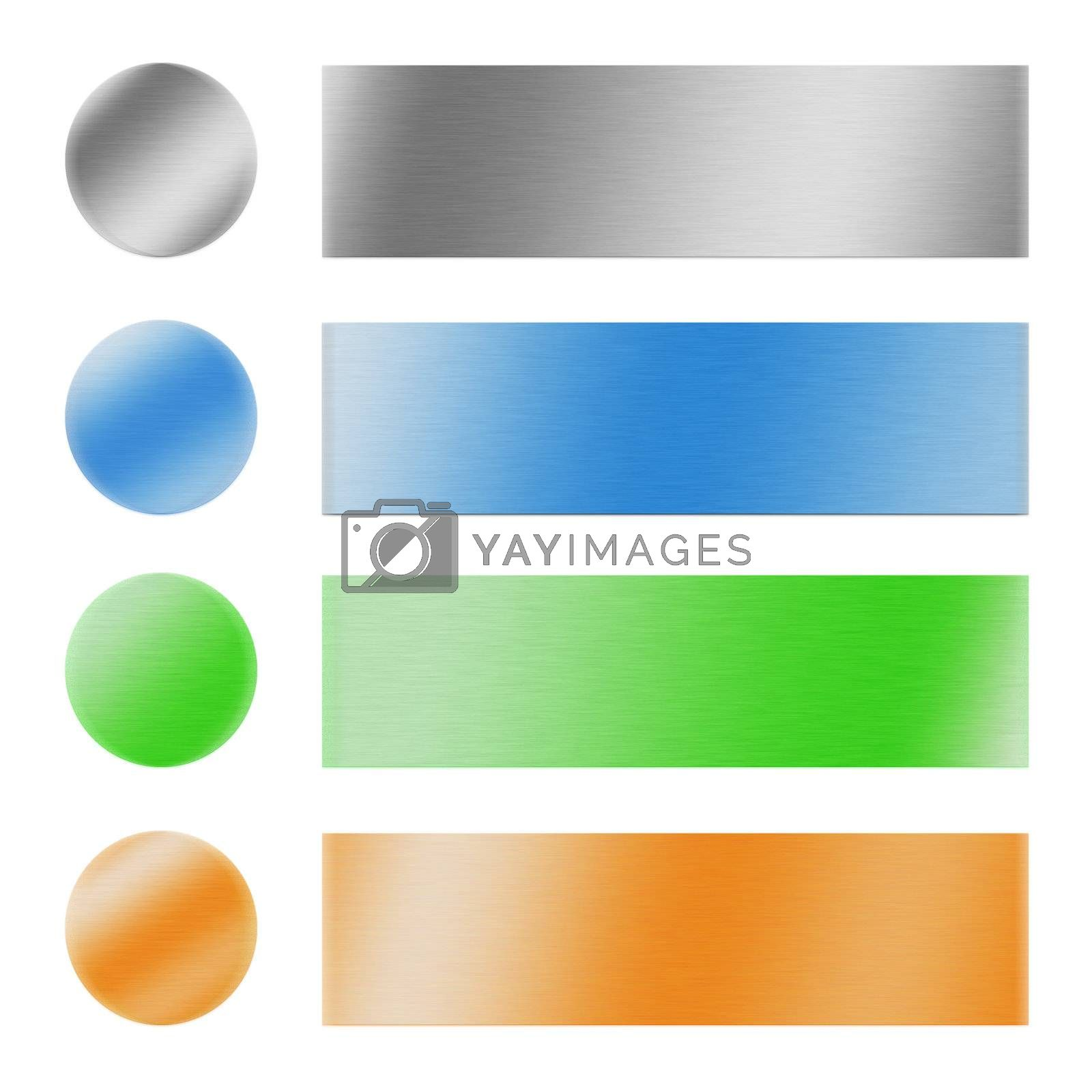 multicolor and metallic buttons and banners