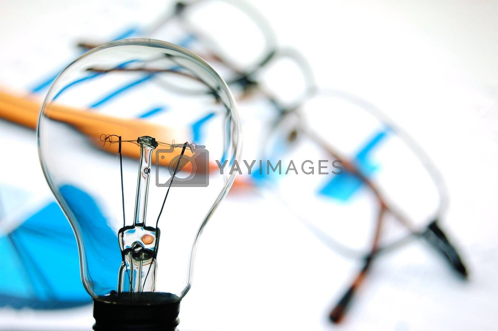 bulb with business background by gunnar3000