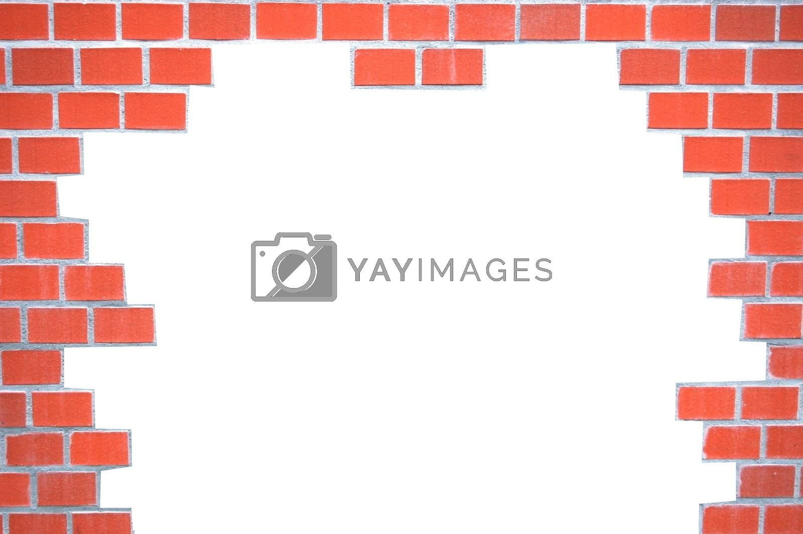 grunge brick wall frame with white space for text