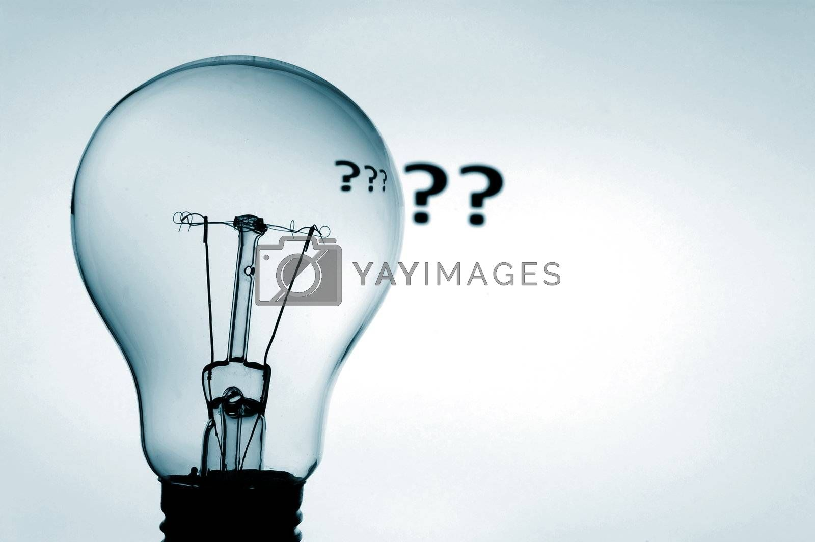 bulb and question mark showing concept of solving a problem