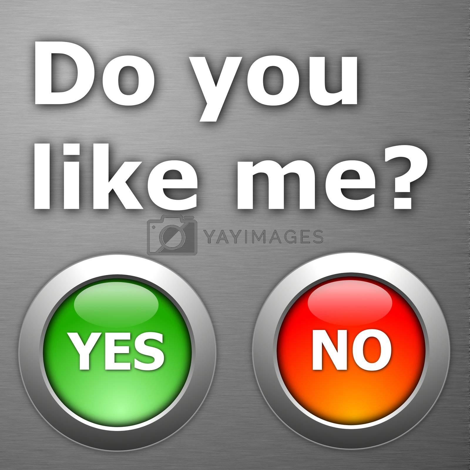 do you like me and yes no botton on metal