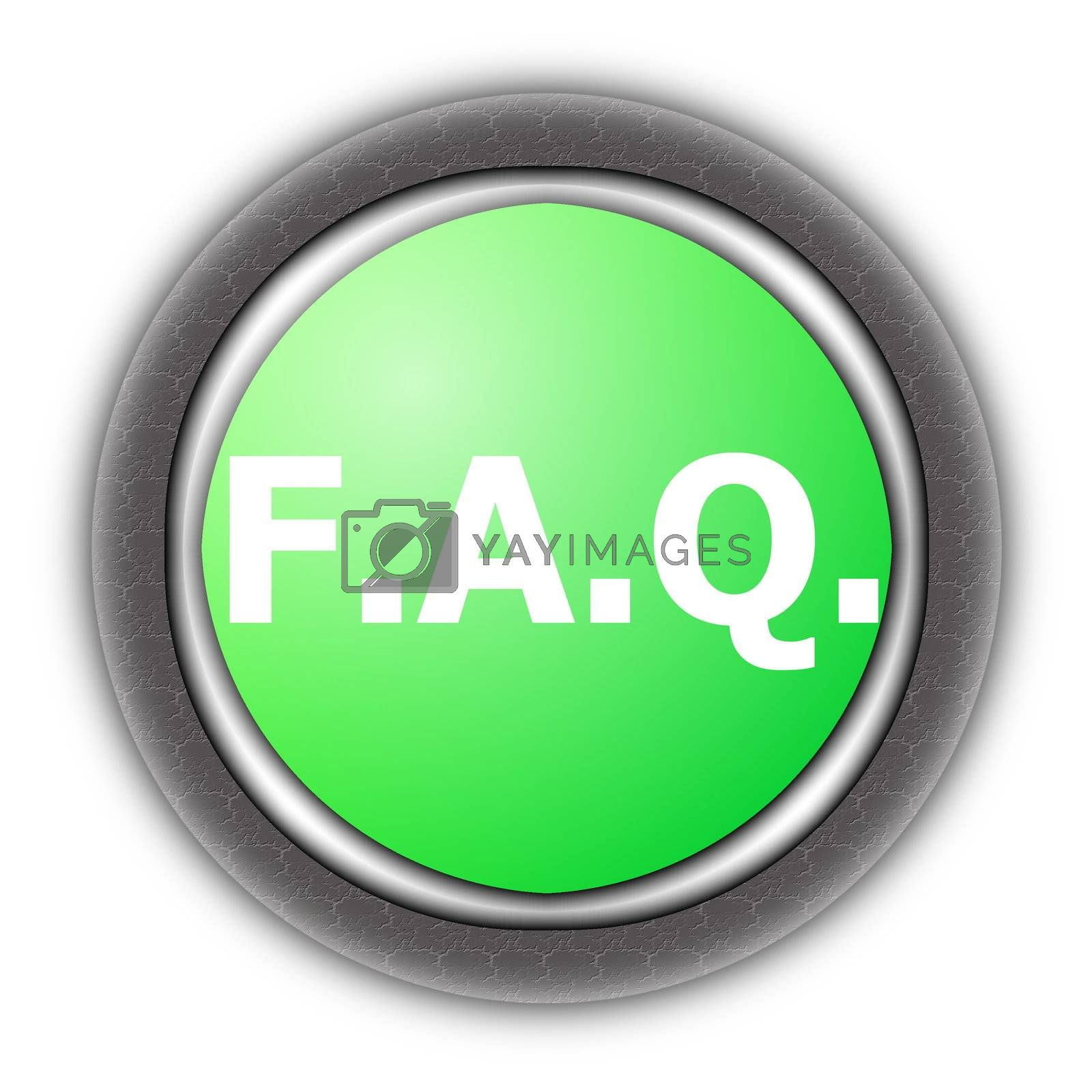 faq button for internet website isolated on white