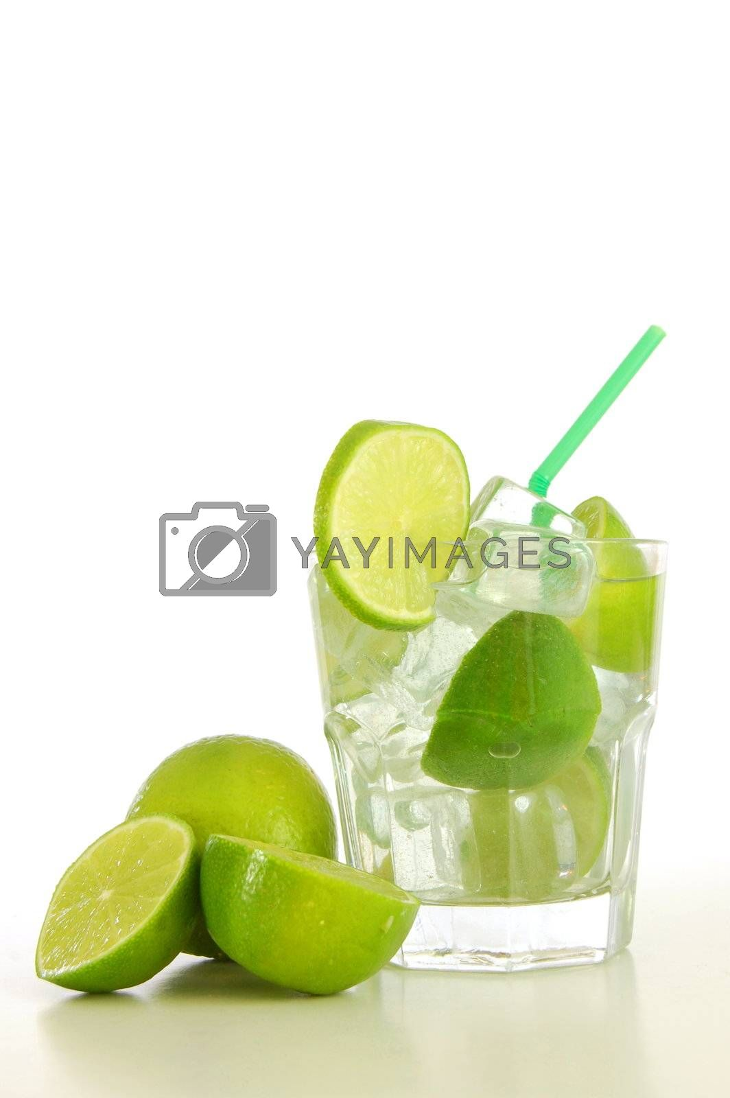 cocktail drink with lime like Caipirinha or mojito