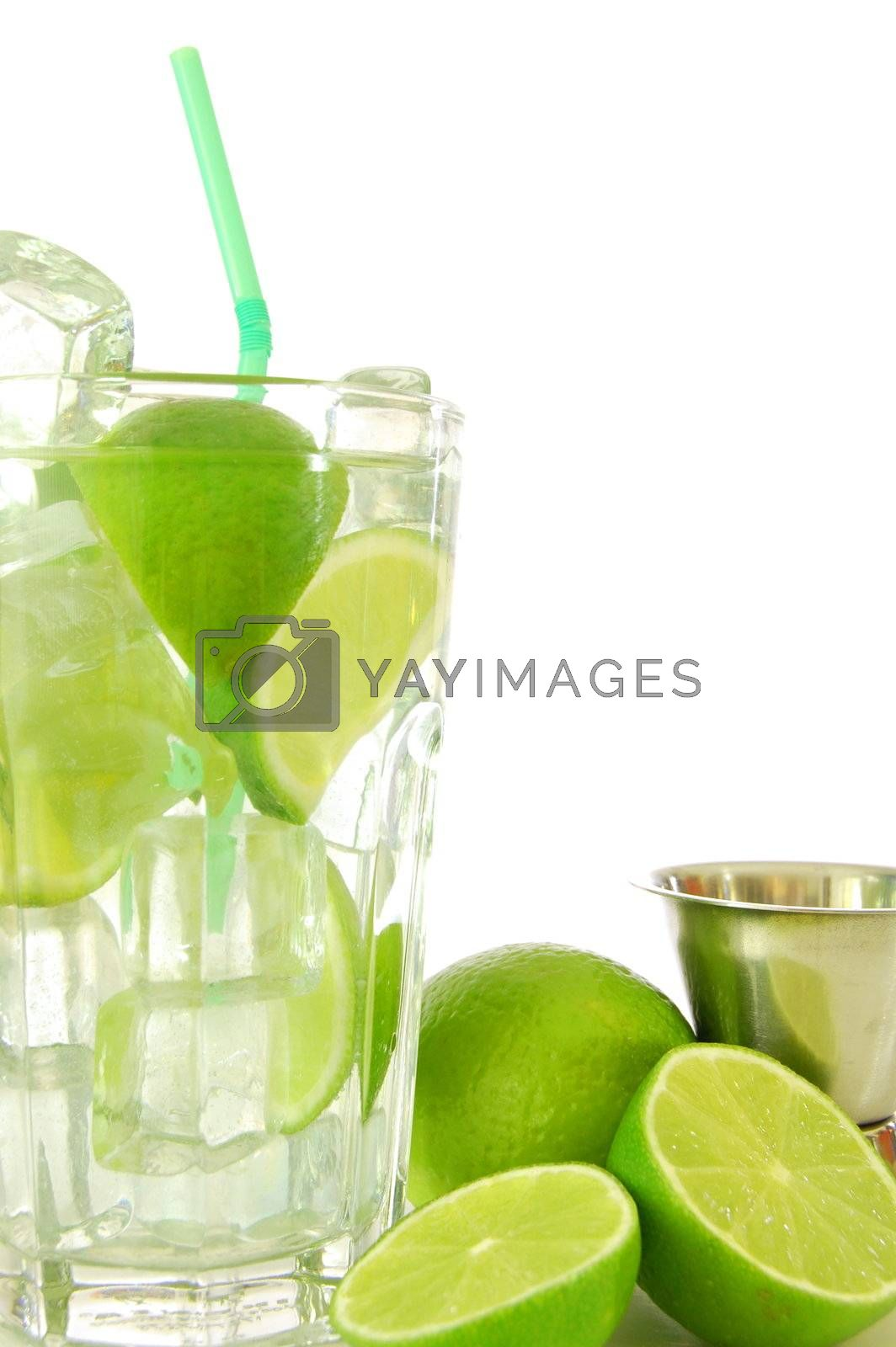 fresh mojito with lemon on white background