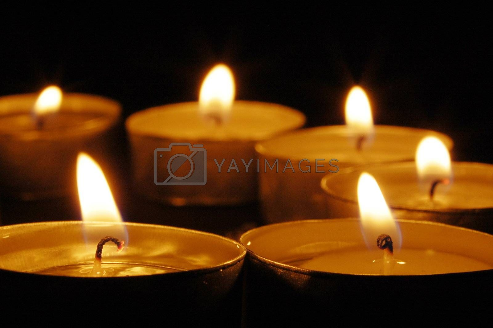 candles in the dark in a romantic night