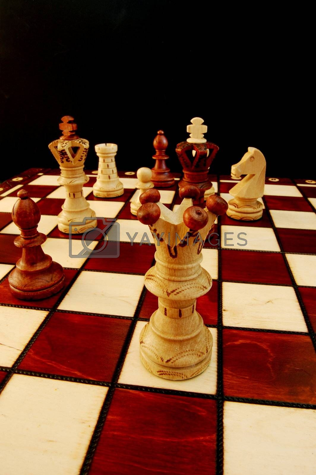 chess pieces on chess board showing competition success and strategy in business