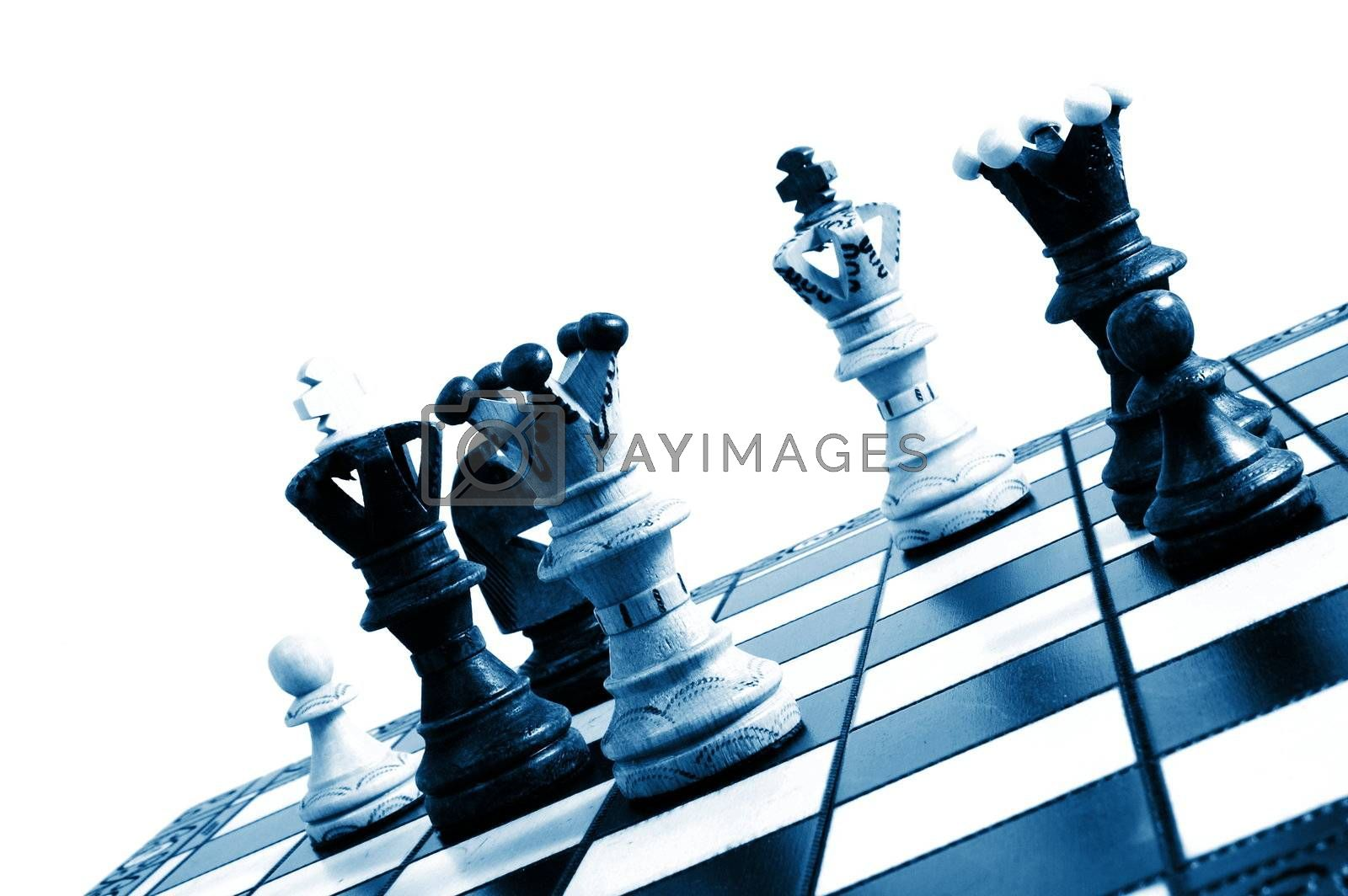 chess pieces on a chess board showing concept for strategic business