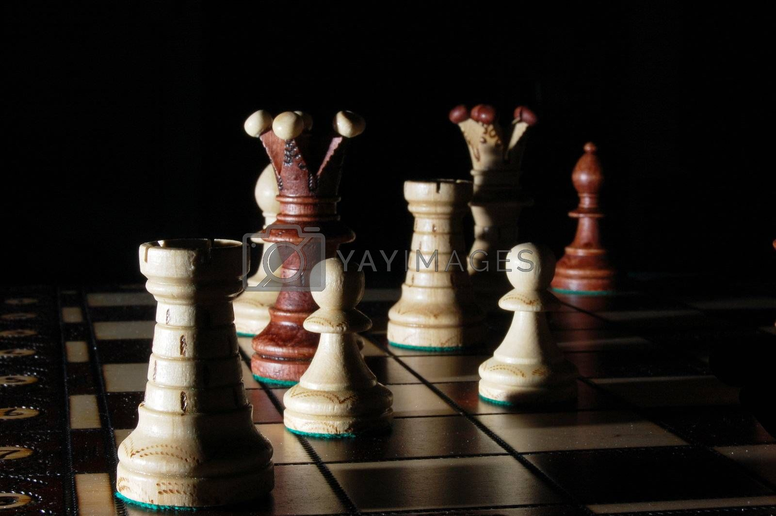 chess pieces on chess board showing power and success
