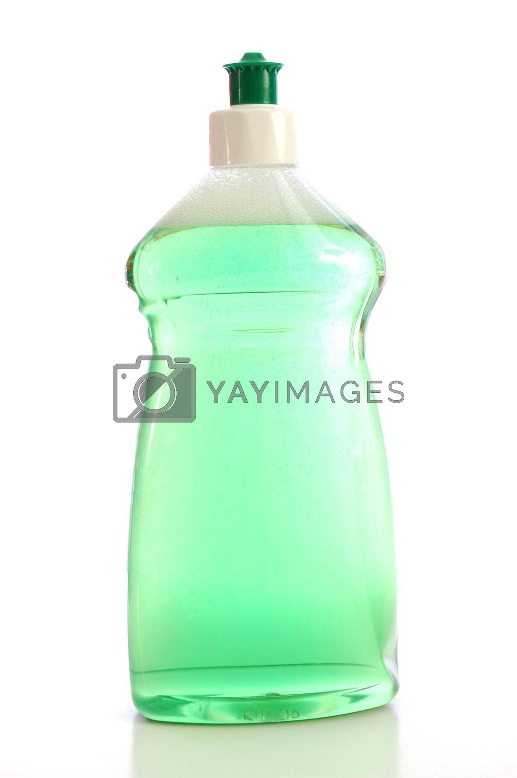 housekeeping with soap spray bottle for hygiene