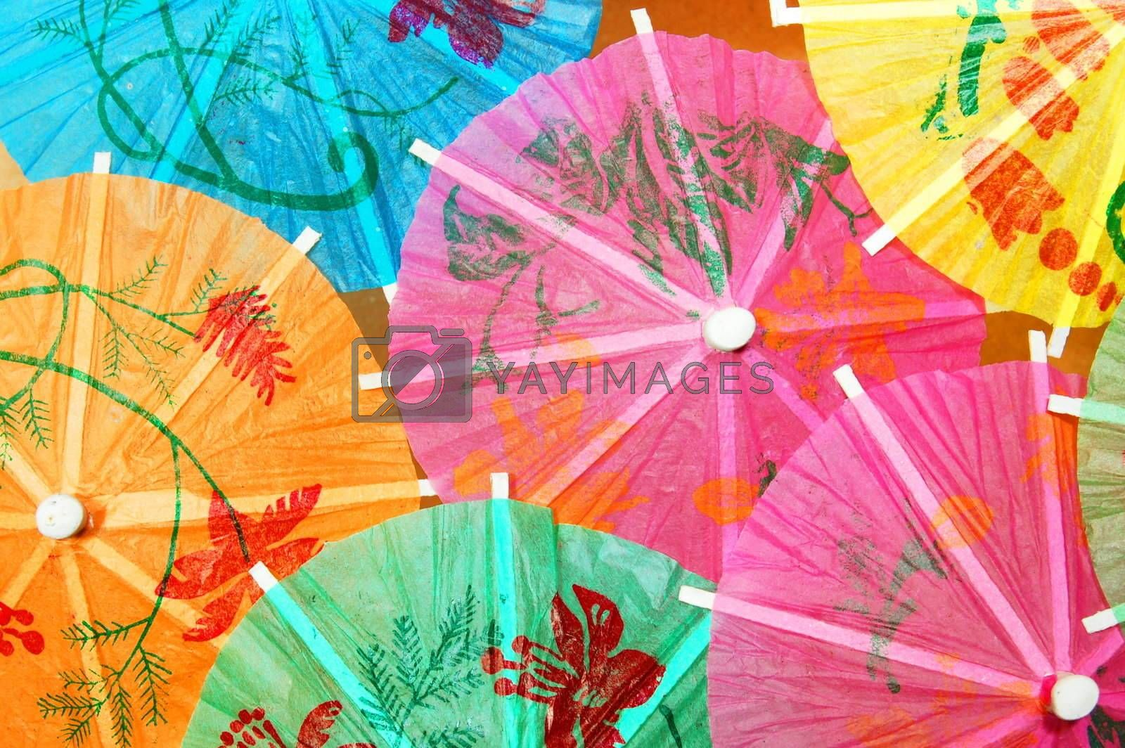 party background with cocktail umbrella and copyspace