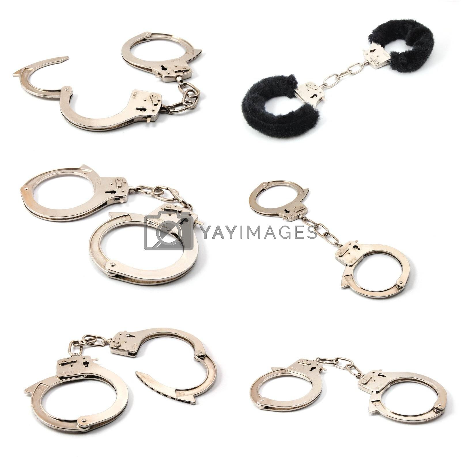 sexy handcuffs collection isolated on white background