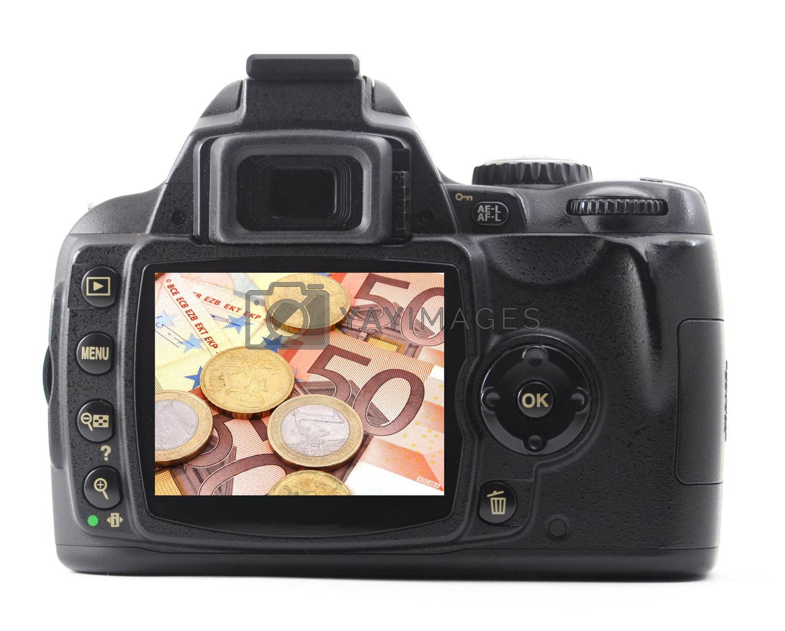 digicam or dslr with money isolated on white background
