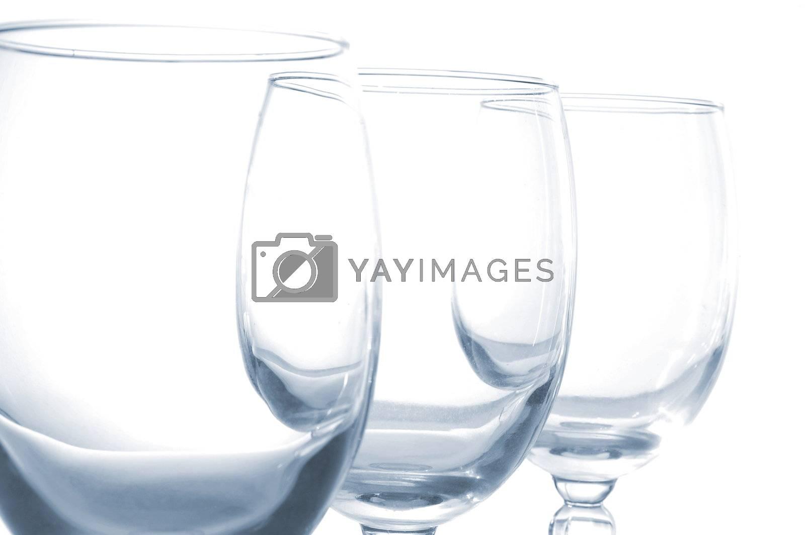 empty vine glasses isolated on white background