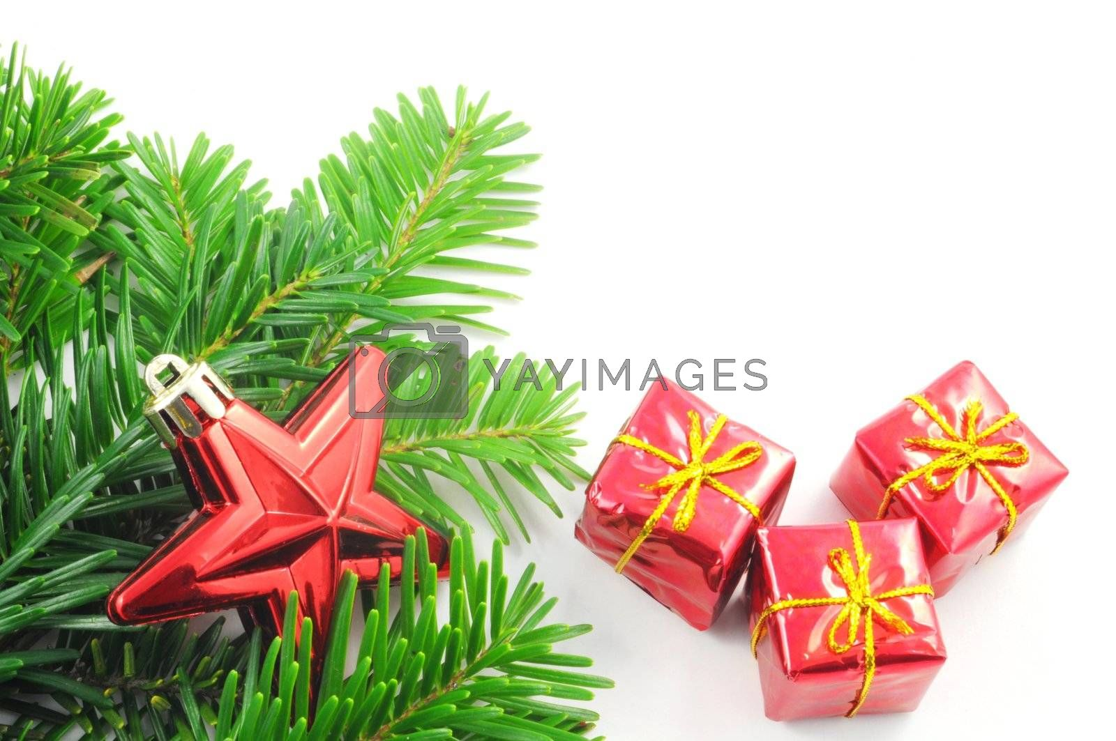 xmas or christmas card with white copyspace for text message