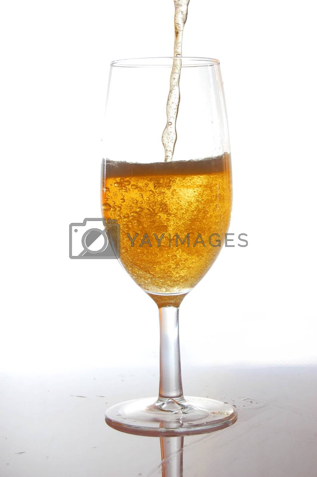 fresh and cold beer on white background