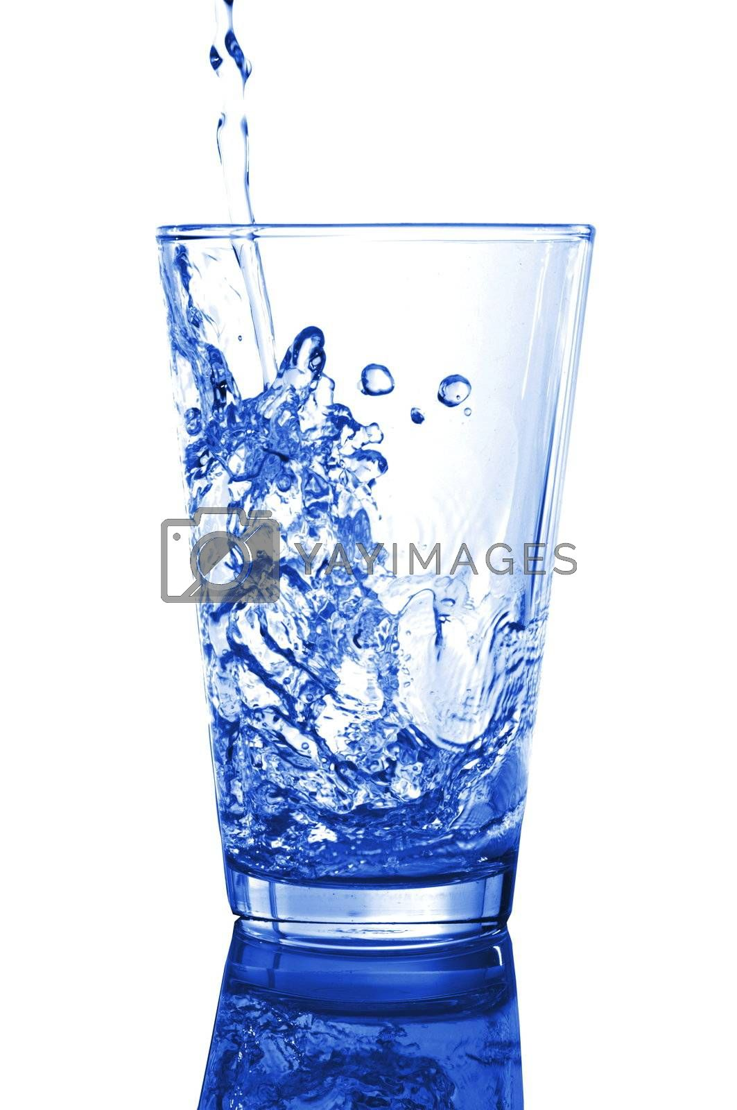 glass of fresh cool water on white background