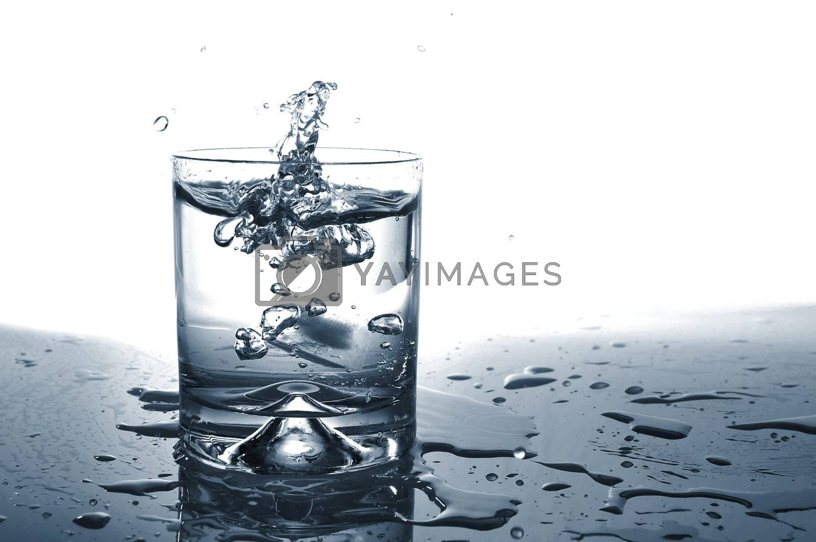 fresh water cocktail in a glass isolated on white background