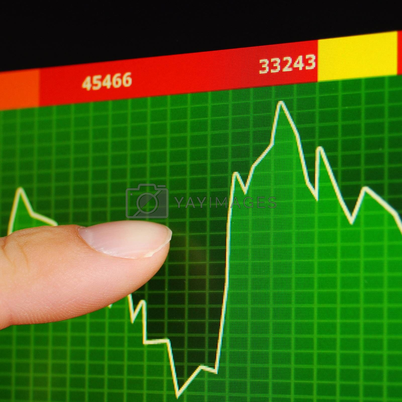 stock exchange concept showing success in finance
