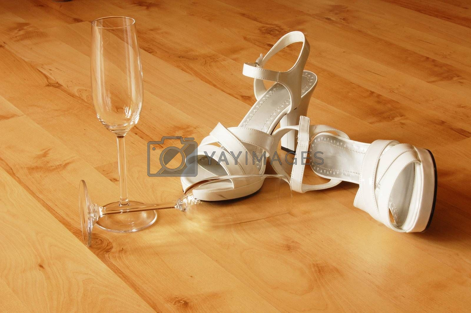 sexy high heels and champange  or sparkling wine glass