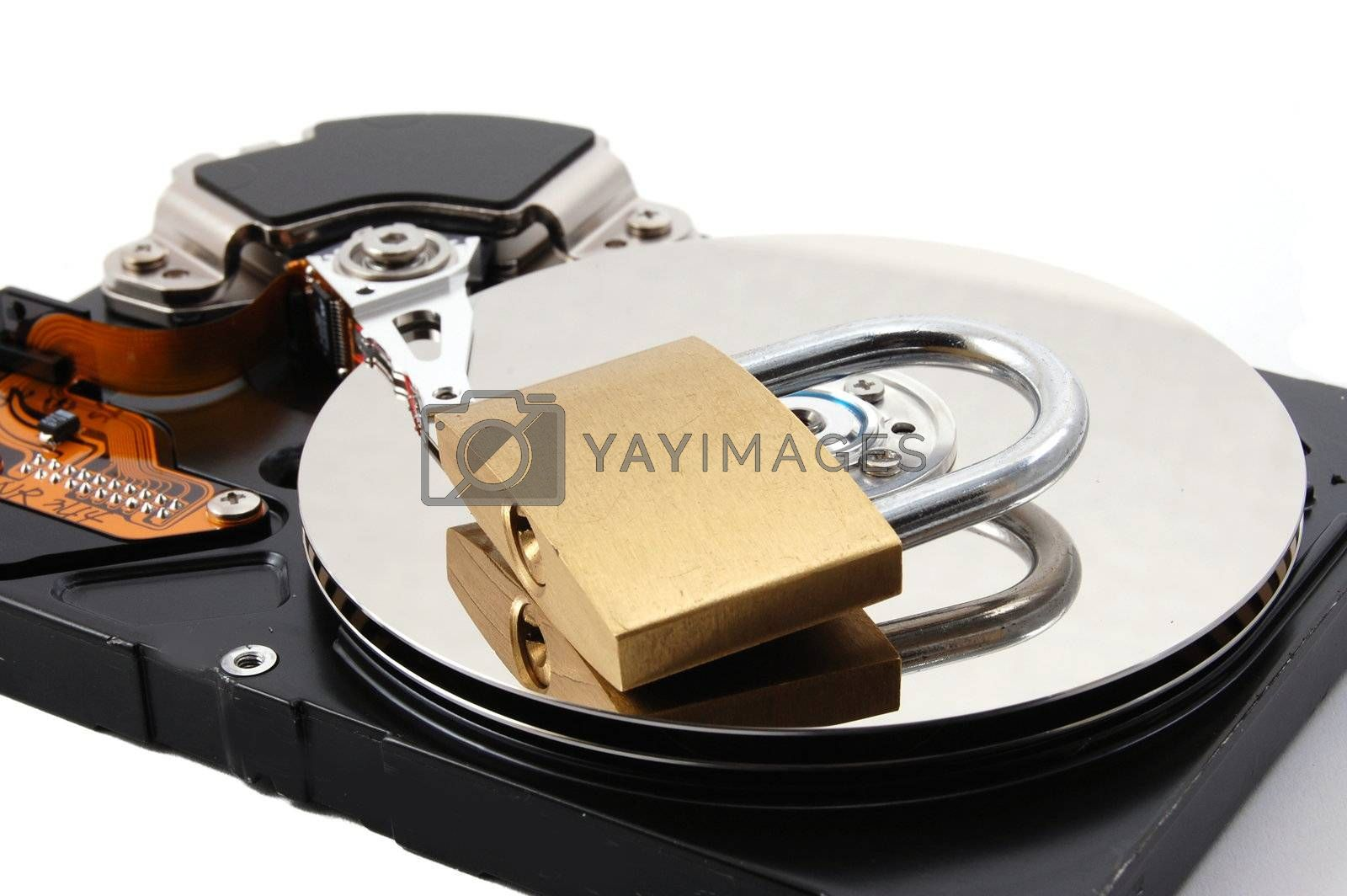 computer hard disk drive and a padlock isolated on white background