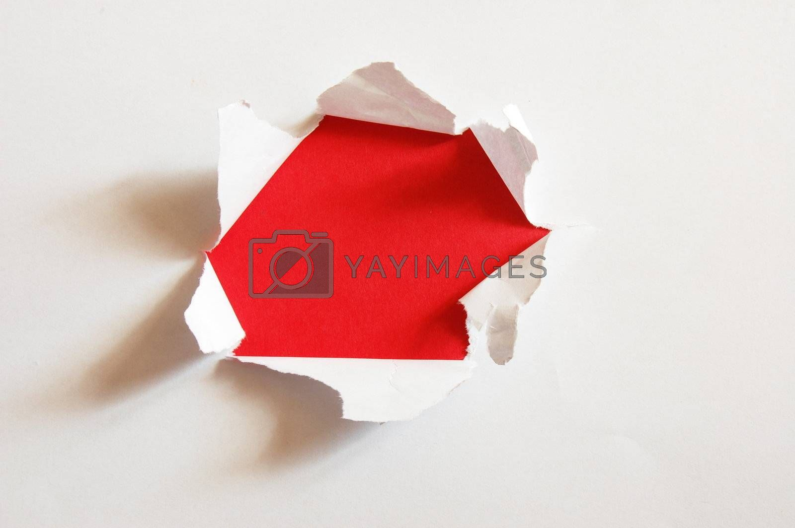 red hole with copypsace in blank white paper