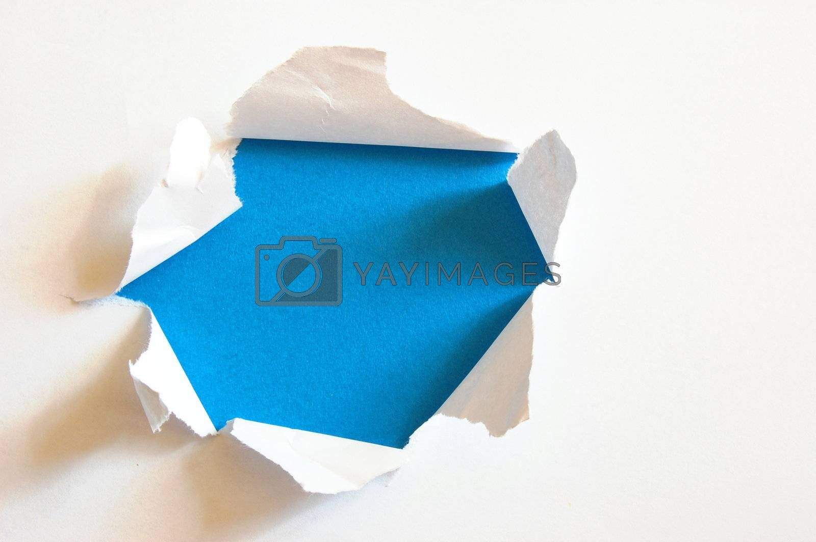 blue hole with copyspace in blank and empty sheet paper