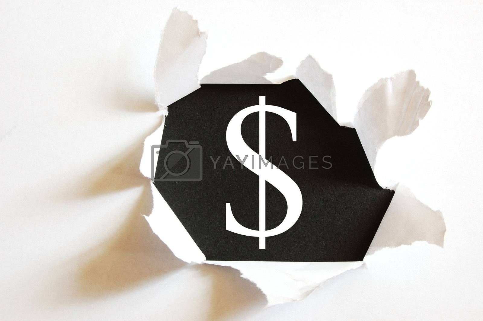 money concept with hole in paper and black background