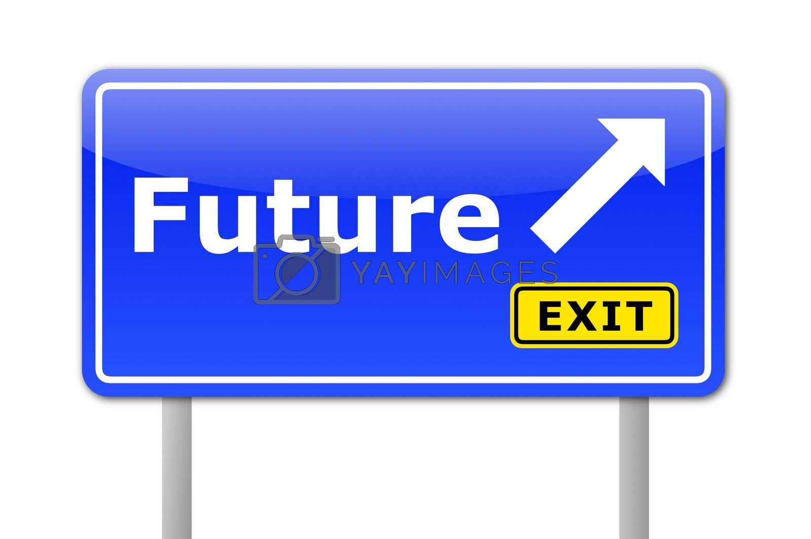 future written on a road sign illustration showing time concept