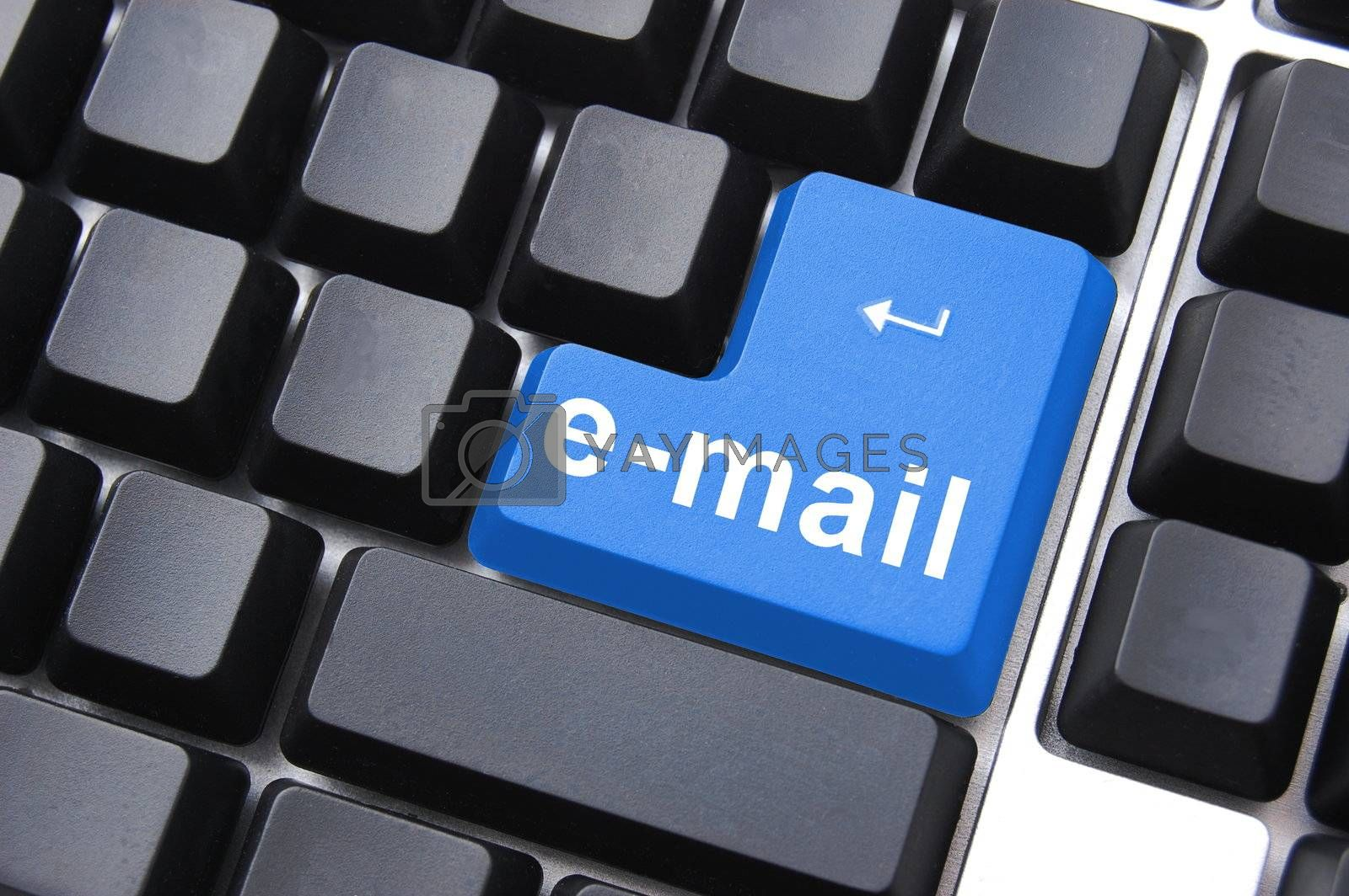 email button on computer keyboard showing concept for internet communication