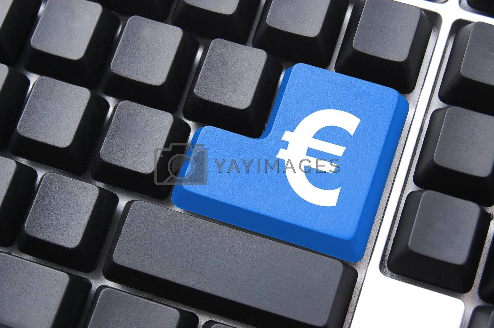ecommerce concept with money symbol on computer button