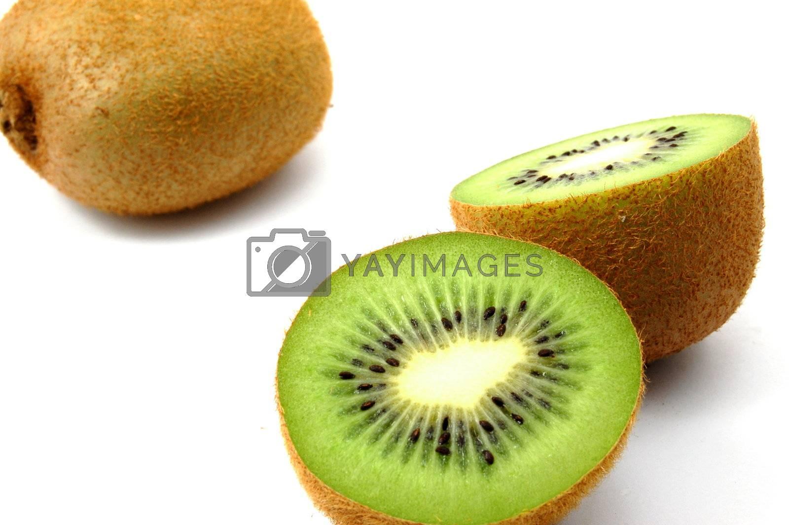 healthy green kiwi fruit isolated on white background