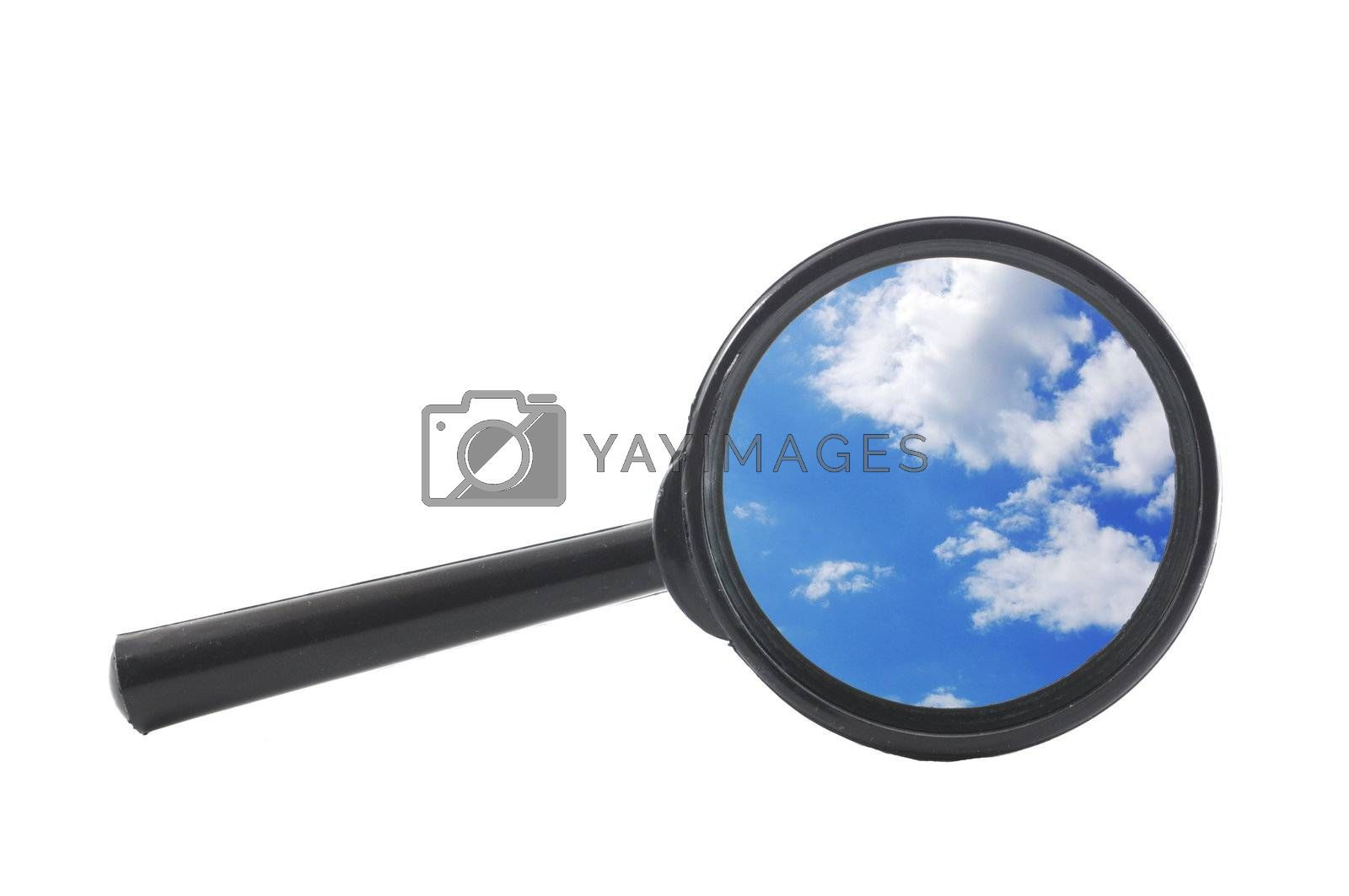 blue sky and magnifying glass showing freedom