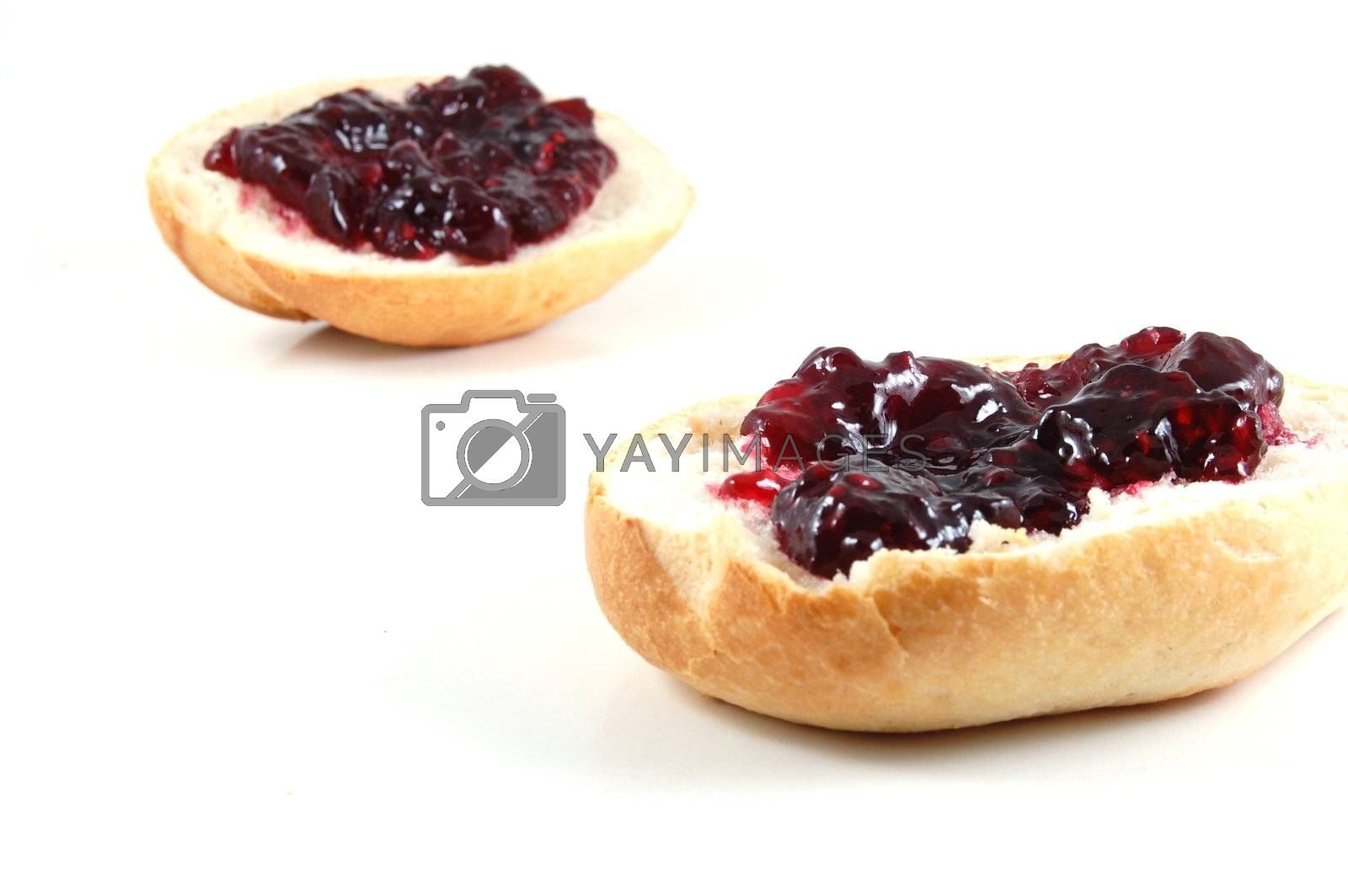 bap with jam isolated on white background
