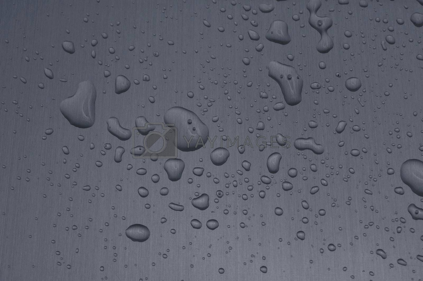 water drops on heavy metal surface texture
