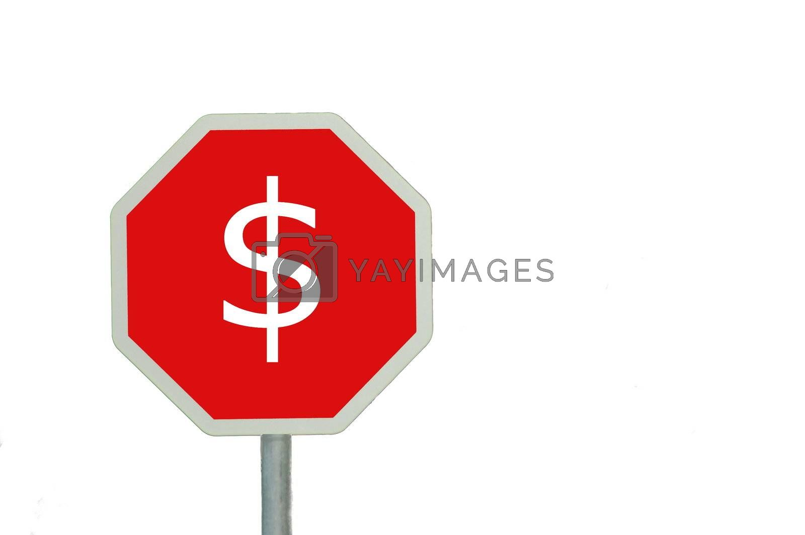 sign isolated on white background with space for text